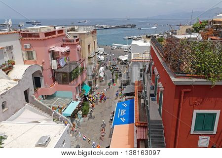 CAPRI ITALY - JUNE 26: Marina Grande in Capri on JUNE 26 2014. Aerial View of Port at Island in Capri Italy.