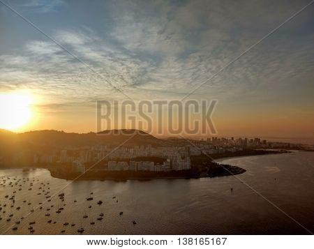 Guanabara Bay Sunset, Sugar Loaf Vision. Rio de Janeiro, Brazil.