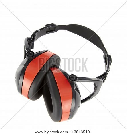 Protective  big earmuffs isolated on white background