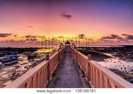 Beautiful long exposure sunrise shot at jetty.