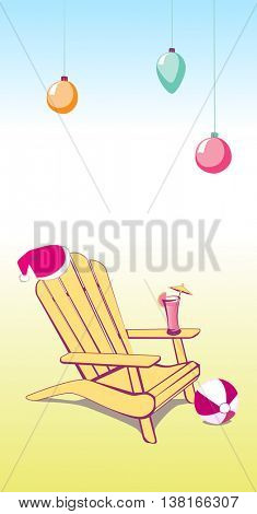 Adirondack Beach chair with Santa Claus hat and Drink. Vector illustration with place for your copy text. EPS10