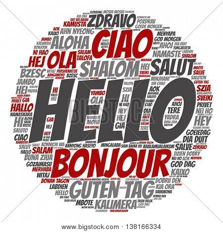 Concept or conceptual abstract round hello or greeting international word cloud in different languages or multilingual