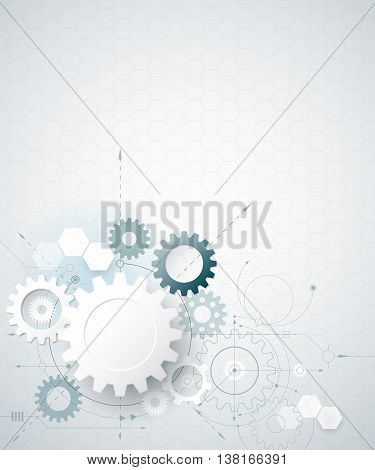 Vector illustration gear wheel hexagons. Abstract hi-tech technology and engineering background machine technology futuristic concept. Vector abstract technology on light gray color background