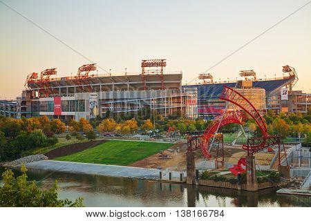 NASHVILLE - AUGUST 27: LP Field early in the morning in Nashville on August 27 2015. The stadium is the home field of the NFL's Tennessee Titans and the Tennessee State University Tigers.