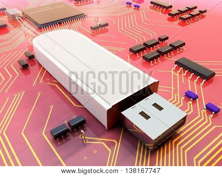 Electrical Power chips and a USB flash drive.,3d render