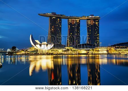 SINGAPORE - OCTOBER 31: Overview of the marina bay with the Marina Bay Sands on October 31 2015 in Singapore.