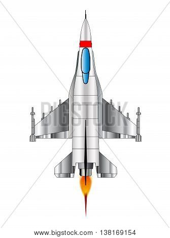A depiction of a modern jey fighter blasting away at full throttle.