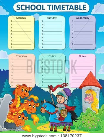 Weekly school timetable thematics 9 - eps10 vector illustration.