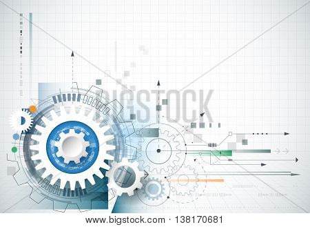 Abstract technology background. Vector gear wheel hexagons and circuit board. Abstract hi-tech engineering machine technology concept. Vector abstract futuristic technology on light blue color background