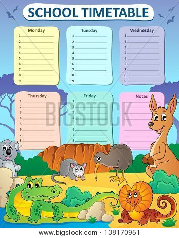Weekly school timetable composition 3 - eps10 vector illustration.