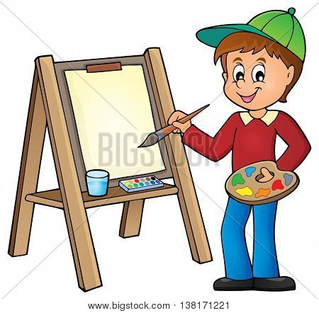 Boy painting on canvas 1 - eps10 vector illustration.