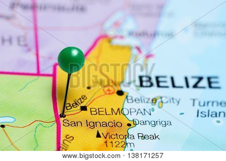 San Ignacio pinned on a map of Belize