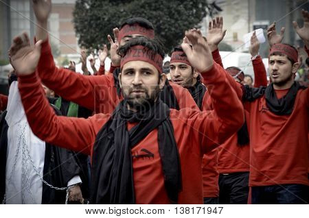 Istanbul Turkey - November 13 2013: The global mourning ceremony of Ashura. Karbala Martyrs Commemoration in Arenamega. Thousands of Jaferies in Turkey joined the Karbala mourning ritual where Prophet Muhammad's grandson Imam Hussain and 72 others were ki