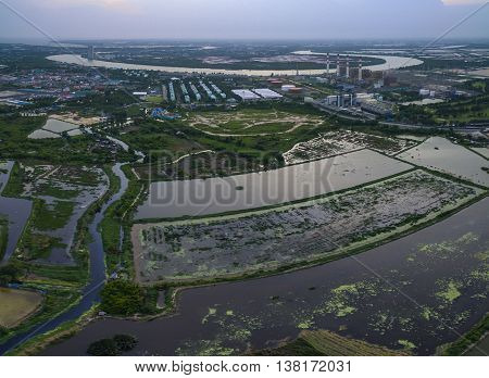 aerial view of electric power generator thermal plant in thailand