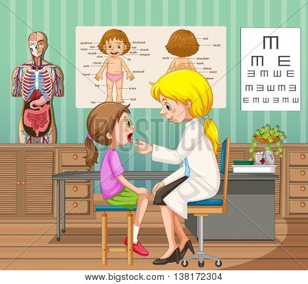 Doctor giving treatment to little girl in clinic illustration