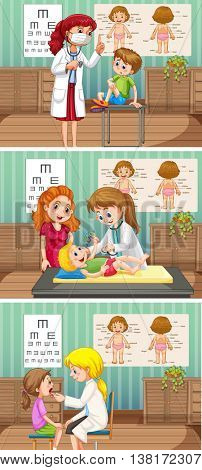 Doctors and patient in clinic illustration