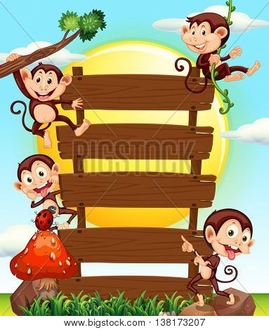 Wooden sign and four monkeys illustration