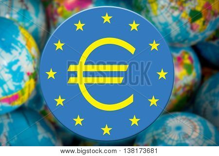 ECB symbol on the globe background business and financial concept