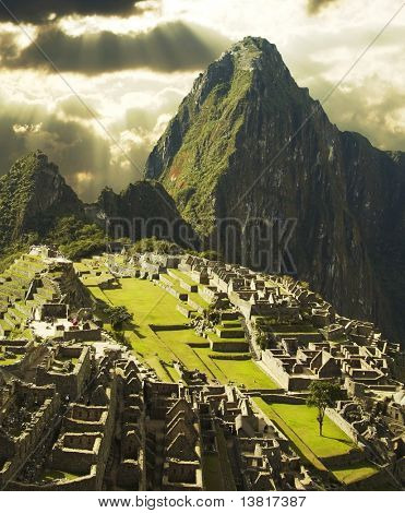 View on Machu-Picchu city in storm weather