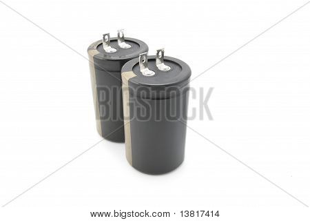 Black Electrolytic Capacitor For Flash Isolated On White