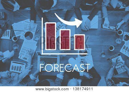 Recession Decrease Business Bar Graph Concept