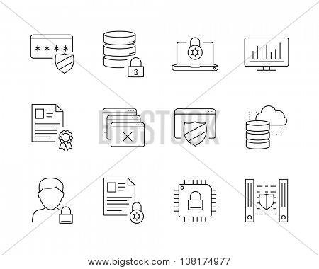 Data protection icons set perfect line // Black & White