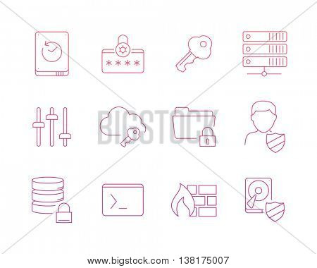 Data protection icons set perfect line 2