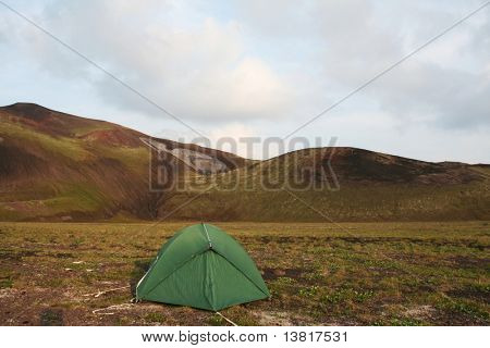 tent on sunset in mountain
