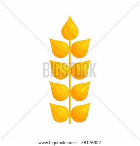 Stalk of ripe barley icon in cartoon style on a white background