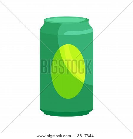 Green aluminum can icon in cartoon style on a white background