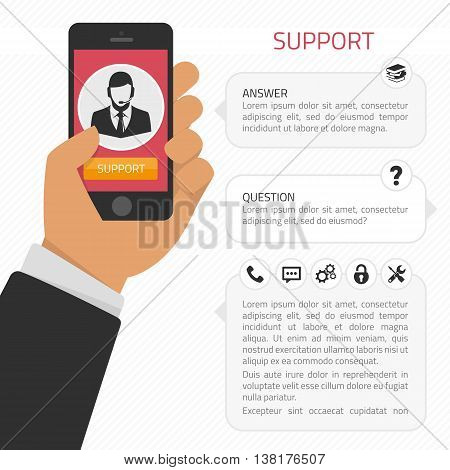 Vector illustration modern creative flat design on hand holding mobile phone with online service. phone in the hand of man from the operator on the screen support. Modern concept support, consulting.