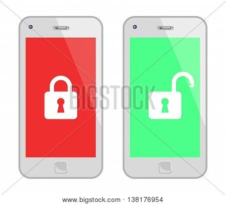 White Smart Phone With Padlock. Vector Illustration Of Locked And Unlocked White Smart Phones. No Transparency. Global Colors Used.
