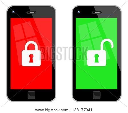 Locked And Unlocked Smart Phones. Vector Illustration Of Locked And Unlocked Black Smart Phones. No Transparency. Global Colors Used.