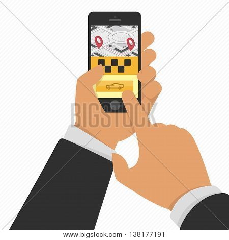 Vector illustration of hand holding phone with taxi hire service app running, flat design. Mobile phone in hand with the app for an order of a taxi service concept. Taxi service application running.