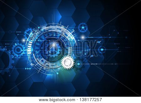 Vector illustration gear wheel hexagons and circuit board. Hi-tech digital technology and engineering digital telecom technology concept. Abstract futuristic on light blue color background