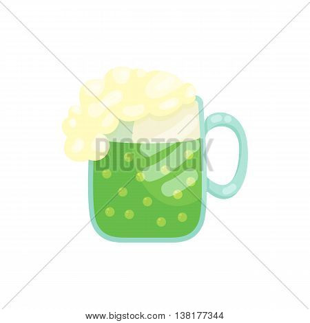 A beer mug of green beer with a foamy head icon in cartoon style on a white background