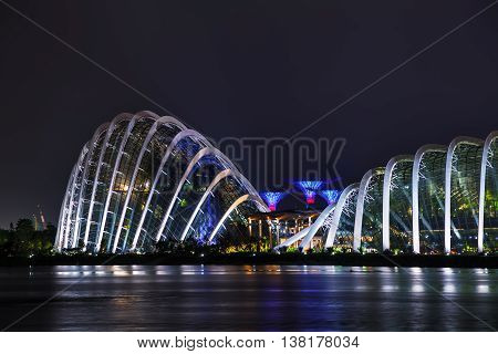 SINGAPORE - NOVEMBER 6: Overview of the marina bay with Gardens by the Bay on November 6 2015 in Singapore.