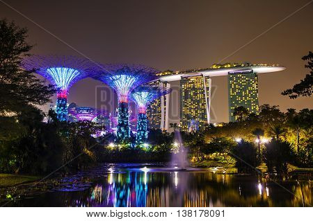 SINGAPORE - NOVEMBER 4: Gardens by the Bay park overview on November 4 2015 in Singapore.