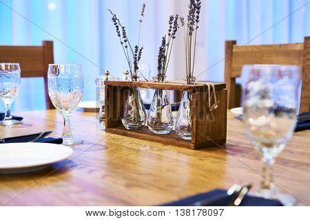 Serving Dinner Table In Restaurant