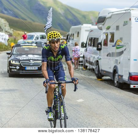 Col de la Croix de Fer France - 25 July 2015:The Spanish cyclist Jose Herrada Lopez of Movistar Team climbing to the Col de la Croix de Fer in Alps during the stage 20 of Le Tour de France 2015.