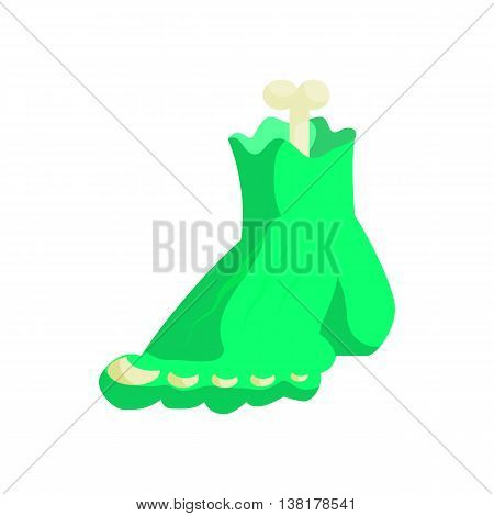 Zombie green monster foot icon in cartoon style on a white background