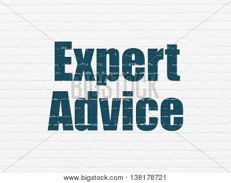 Law concept: Painted blue text Expert Advice on White Brick wall background