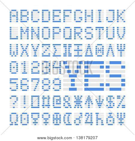 Blue digital font numbers, letters and planets. Blue alphabet symbols on white background.