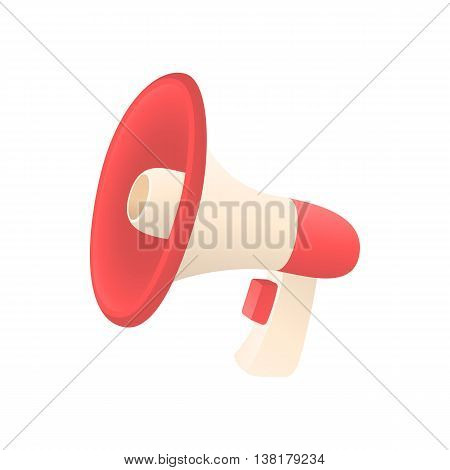 Red loudspeaker icon in cartoon style on a white background