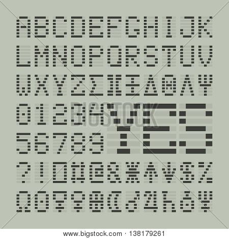 Led digital font letters, numbers and planets. Tech display latin symbols.