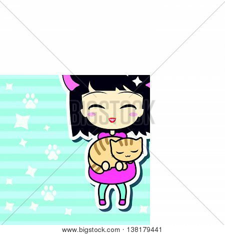 Cute girl holding small cat. With white stroke and shadows isolated on linear blue background. Vector illustration. Can use for birthday card, as labels etc