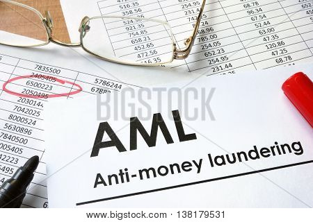 Paper with words Anti-money laundering (AML) and charts.