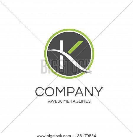 elegant letter k with circle logo concept