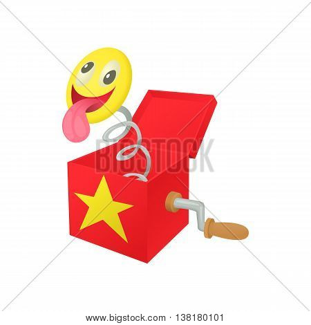 Smile face jumping out from a box icon in cartoon style on a white background
