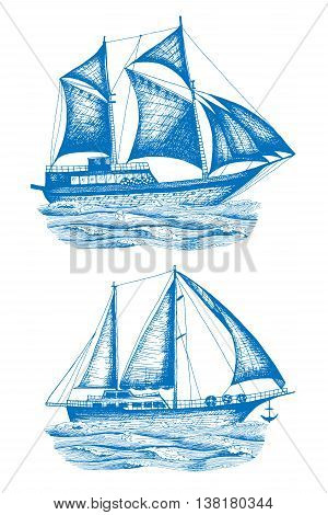 Ships vector set design template. sailboat or frigate icon. Drawn in ink vintage illustration for design.